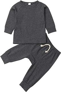 طقم ملابس كاجوال للأطفال حديثي الولادة للأولاد والبنات بأزرار أكمام طويلة سادة + مجموعة من قطعتين من أزياء الخريف والشتاء