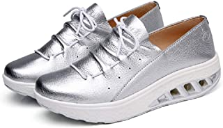LingGT Large Size Women Shoes Rocker Sole Leather Soft Casual Walking Trainers (Color : Silver, Size : AU 5.5)
