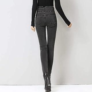 Pantalones Vaqueros Gruesos De Cintura Alta para Mujer Pantalones Vaqueros Ajustados Elásticos Cálidos Pantalones Vaqueros...