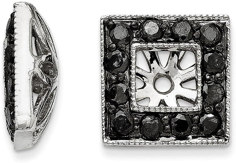 14K White Gold Black Diamond Square Jacket Earrings 11mm (.733 cttw.)