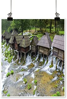 1 Piece Wall Art Painting Old Wooden Water Mills,Jajce in Bosnia and Herzegovina Living Room Office Decoration,12