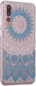 Surakey Compatible with Huawei P20 Pro Case Clear Thin Slim Fit with Stylish Silicone Bumper Shockproof Phone Cover Flower Pattern Soft Flexible Protective Case Blue Pattern