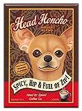 Imãs de geladeira retrô para cães: CHIHUAHUA   CAFÉ   Arte de propaganda vintage
