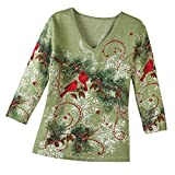Holiday Top, Winter Snowflake Pine with Sequin Accents Sage Green