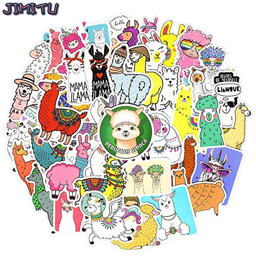 50 PCS Cute Alpaca Sticker for Children Kawaii Cartoon Llama Animal Stickers for Laptop Bike Helmet Luggage Stationery Kids Toys