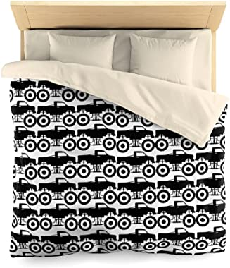 Truck Duvet Cover Modified Automobile Monochrome Sketch Pattern Monster Pickup Truck Off Road Vehicle Cream Twin