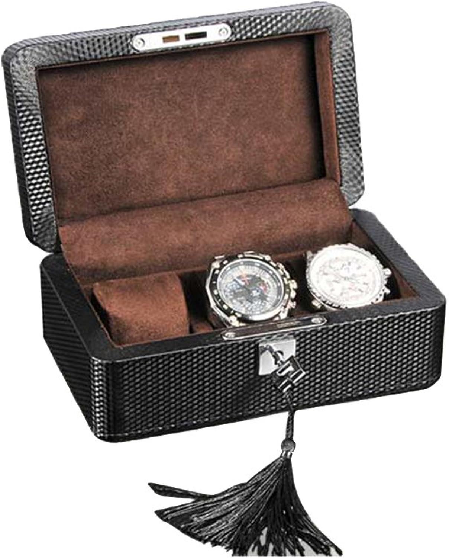 TGDY Uhrkasten Holz, Mechanische Uhrenkollektion Aufbewahrungsbox, Verotelungs Kasten, Carbonfaser Leder Nordic Simplicity Box Mit Schloss Schwarz (19  12  9,5 cm),braunlining