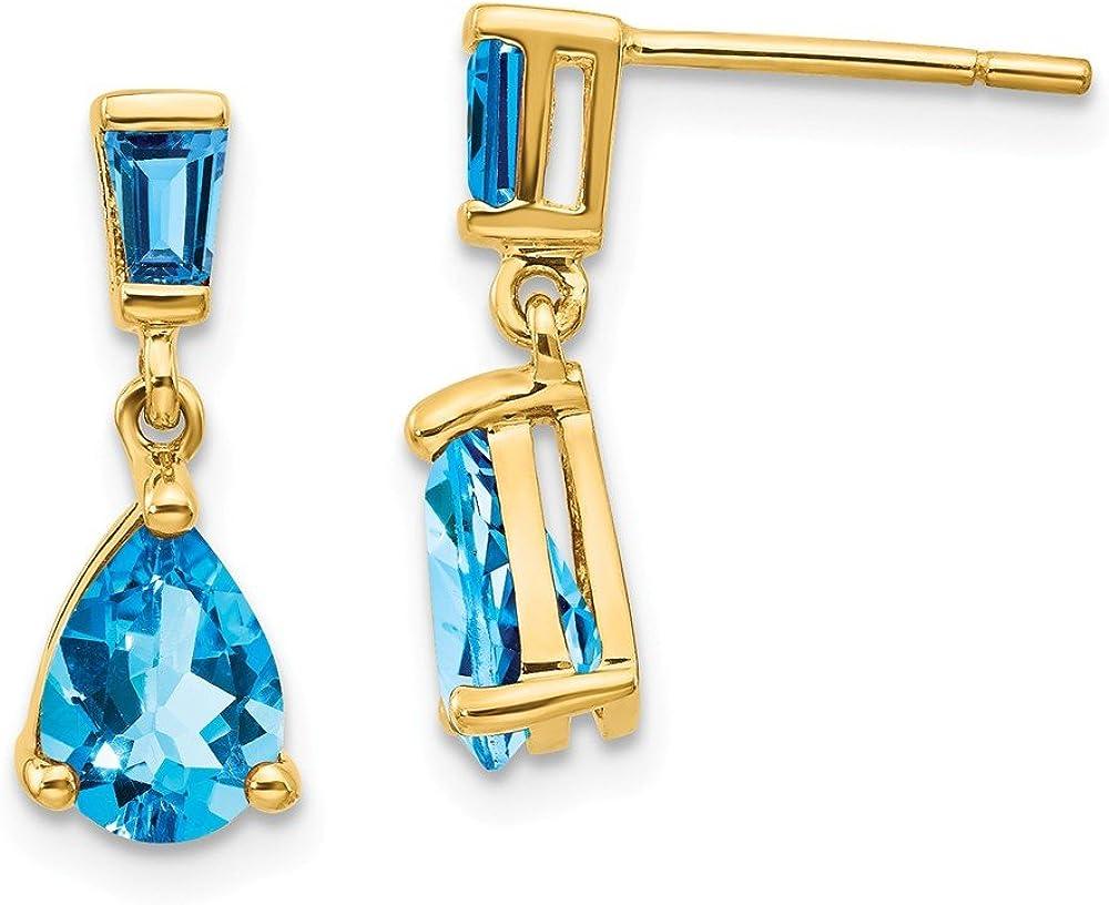 14k Yellow Gold Blue Topaz Drop Dangle Chandelier Post Stud Earrings Birthstone December Fine Jewelry For Women Gifts For Her
