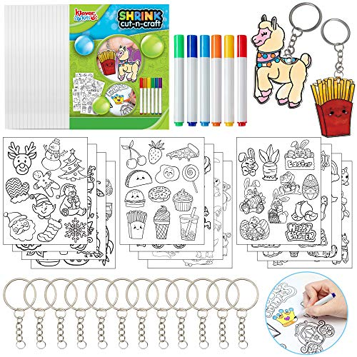 Klever Kits 54Pcs Shrink Art Craft Kit with Blank Shrink Film Sheet Traceable Art Paper Sheet Color Pencils and Keychains Accessories for kids DIY Crafts School Prizes Classroom Party Accessories
