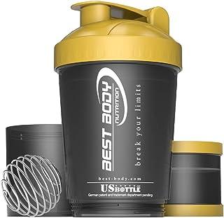 Best Body Nutrition Eiwitshaker, Amerikaanse fles, zwart/goud, proteïneshaker, BPA-vrij, 600 ml