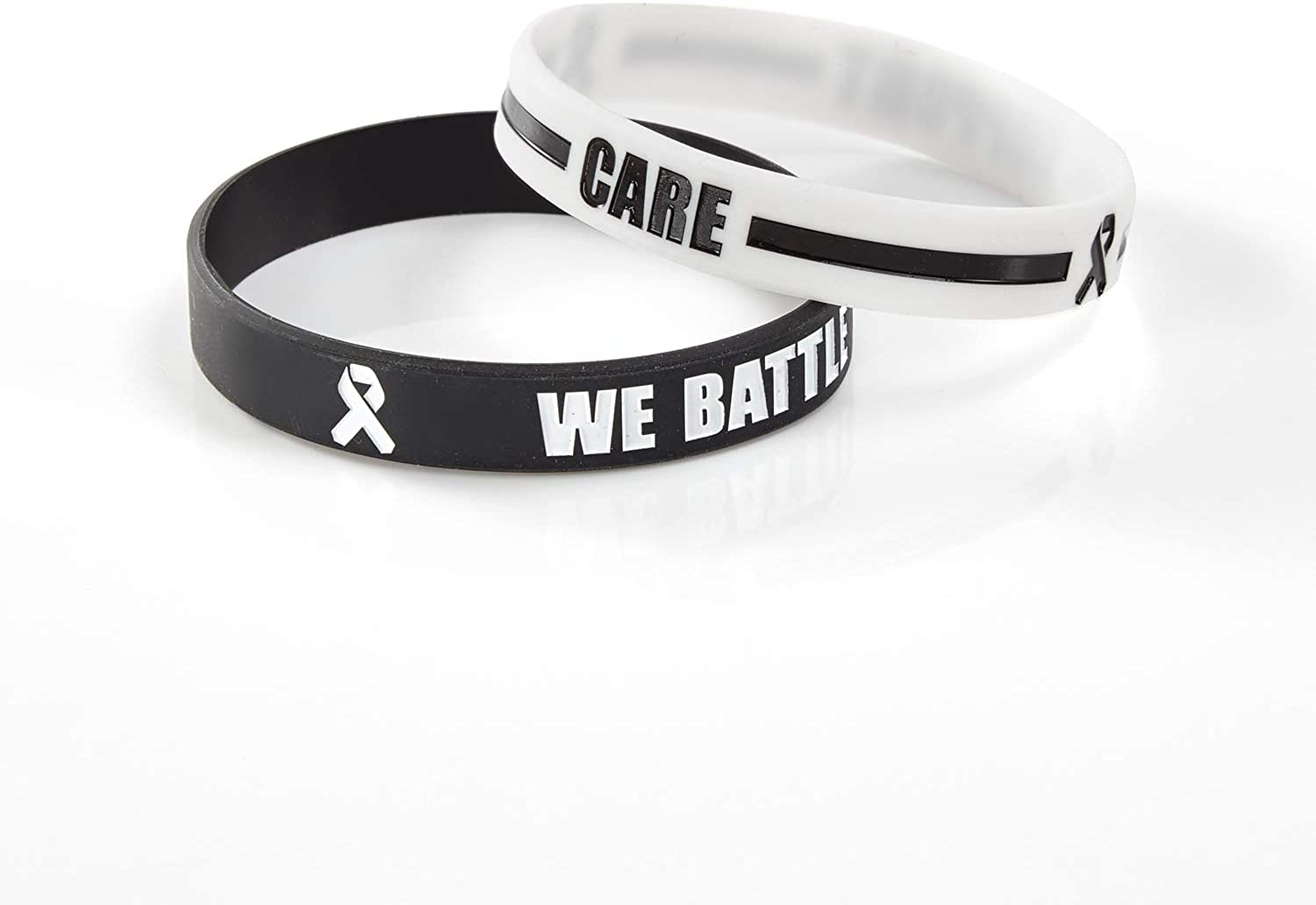 BRANDWINLITE Silicone Cancer & Cause Awareness Bracelets with Saying We Battle Together, Ribbon Icon with Saying Care and Support,Gift for Patients, ...