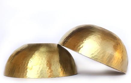 De Kulture Works™ Brass Hand Hammered Round Mixing Bowls Set Of 2 Serving Bowl