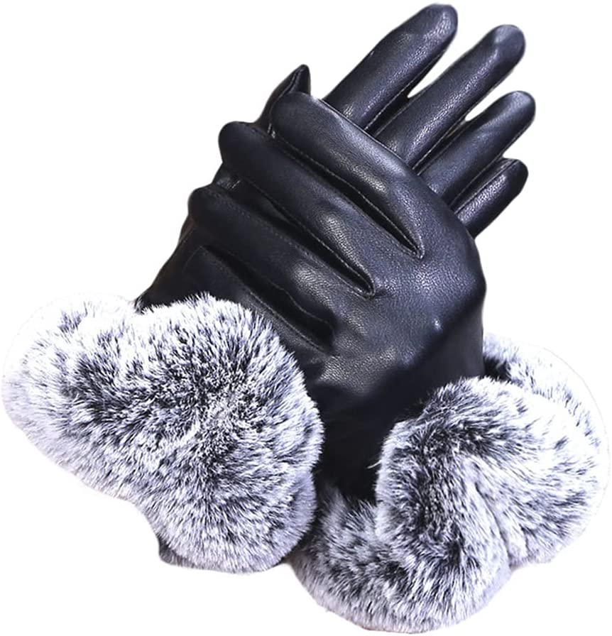 WBDL Solid Women Black Leather Gloves Autumn Winter Lady Warm Rabbit Fur Party Mittens Tactical Hands