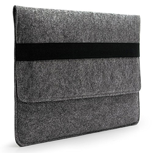 """LAVIEVERT Handmade Gray Felt Case Bag Sleeve Protector with Black Elastic Band for Apple 15"""" MacBook Pro / 15"""" MacBook Pro Retina and Most Popular 15-15.6 Inch Laptops/Notebooks/Ultrabooks"""
