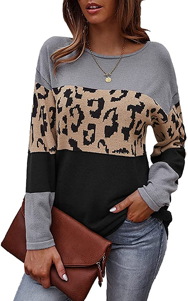 Women's Long Sleeve Crew Neck Color Block Patchwork Loose Fit Knitted Pullover Sweater Tops