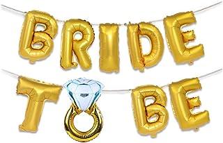 CherriGumi Pragmatic 1 Set 16inch Gold Silver Bride Letter Foil Diamond Ring Balloons for Bridal Shower Bachelorette Hen Night Party Decoration in fine Style(None Golden)