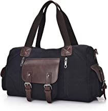 Mens Canvas Weekender Bag Canvas Duffle Travel Bag Overnight Carry on Bag for Men and Women,Black Color with PU Leather