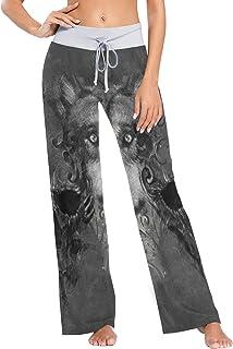 XiangHeFu Pantaloni Pigiama da Donna, Pantaloni da Yoga, Leggings Inferiori, Pantaloni da Salotto a Vita Alta, Teschio di ...