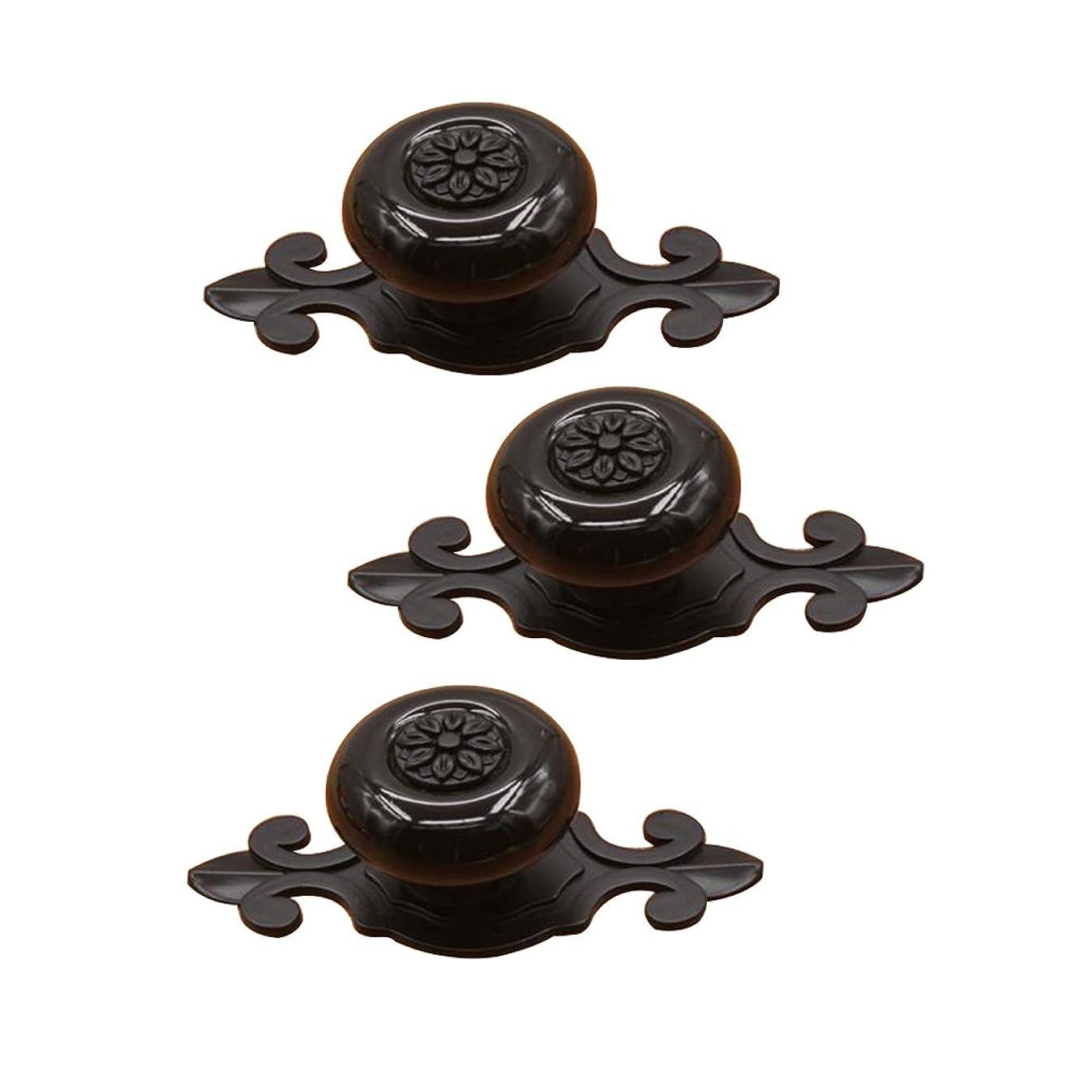 Cucumis Furniture Handle Zinc Alloy Cabinet Door Drawer Ceramic Antique Copper Color Handle 3Pcs (Black)
