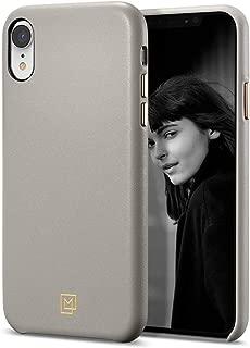 【Spigen x LA MANON】 iPhone XR ケース 6.1インチ 対応 レザー シンプル デザイン 軽量 薄型 光沢 艶 女性 指紋防止 傷防止 保護 Qi充電 ワイヤレス充電 対応 カラン 064CS25090 (オートミール・ベージュ)