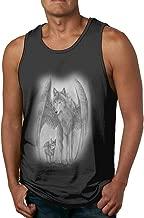 Mens 3D Night Wolf Moon Pattern Printed Popular Sleeveless Tank Top Summer Sport Gym Tees Black