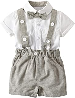 Fairy Baby Summer Formal Boys Outfit 3pcs Clothes Set Kids Tops Shirt+Bibs Shorts Pant Set