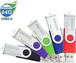 5 Pack 64GB USB Flash Drive ENUODA USB 3.0 Thumb Drives Jump Drive Fold Storage Memory Stick Swivel Keychain Design Mixcolor