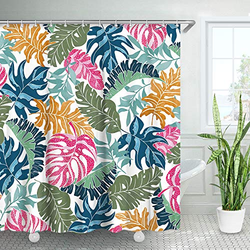 "LIVILAN Tropical Palm Leaf Shower Curtain Set with 12 Hooks, Colorful Decorative Fabric Bath Curtain Modern Bathroom Decor Machine Washable, Multi-Color, 72"" X 72"""