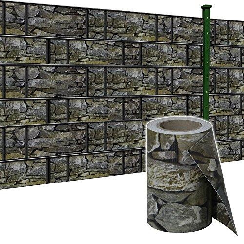 SAILUN® 65m x 19cm Sichtschutzstreifen mit 30 x Befestigungsclipse Sichtschutz Streifen Doppelstabmattenzaun PVC Blickdicht für Einzel- und Doppelstabmatten geeignet (65m x 19cm, Stein-Optik)