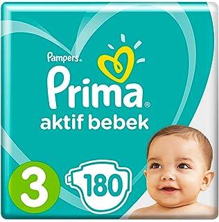 Prima Bebek Bezi Aktif Bebek 3 Beden 180 Adet Midi İkiz Paket (30*6)