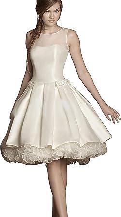Fenghuavip Ivory Bridal Dresses Short Taffeta Organza Wedding Gowns at  Amazon Women's Clothing store