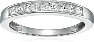 1/2 CT Princess Diamond Wedding Band in 14K Gold Channel