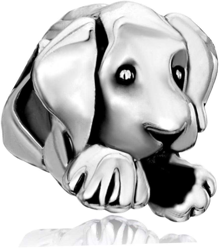 CharmSStory Lucky Dog Paw Charm Animal Style Beads for Bracelet