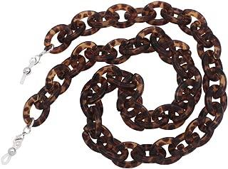 KAI Top Handmade Retro Tortoise Shell Eyeglass Chain, Acetate Chain Link Chunky Reading Glasses Holder Necklace (Amber 2)