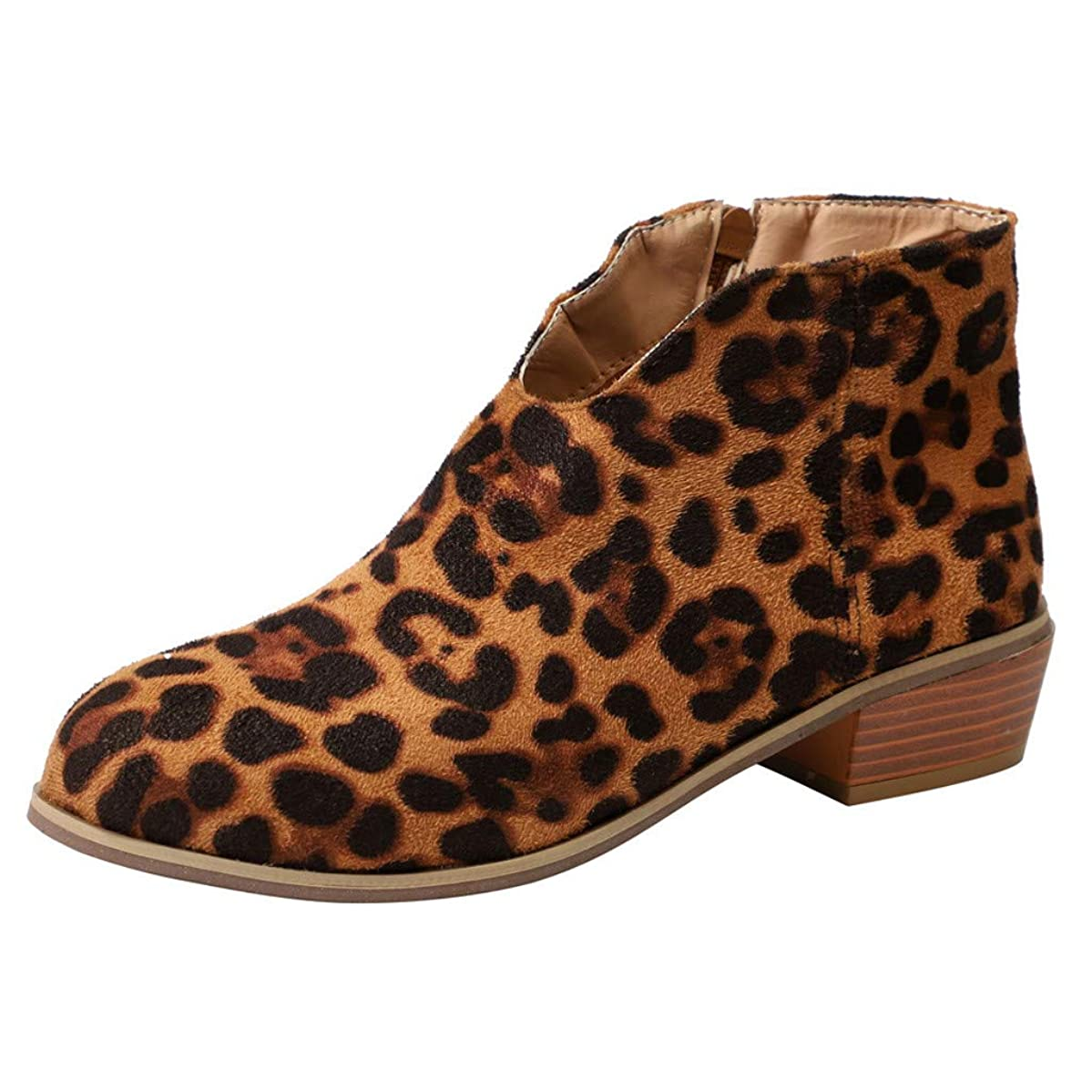 Cenglings Women Leopard Print Round Toe Low Chunky Heel Boots Zipper Boots Slip On Ankle Booties Party Office Shoes