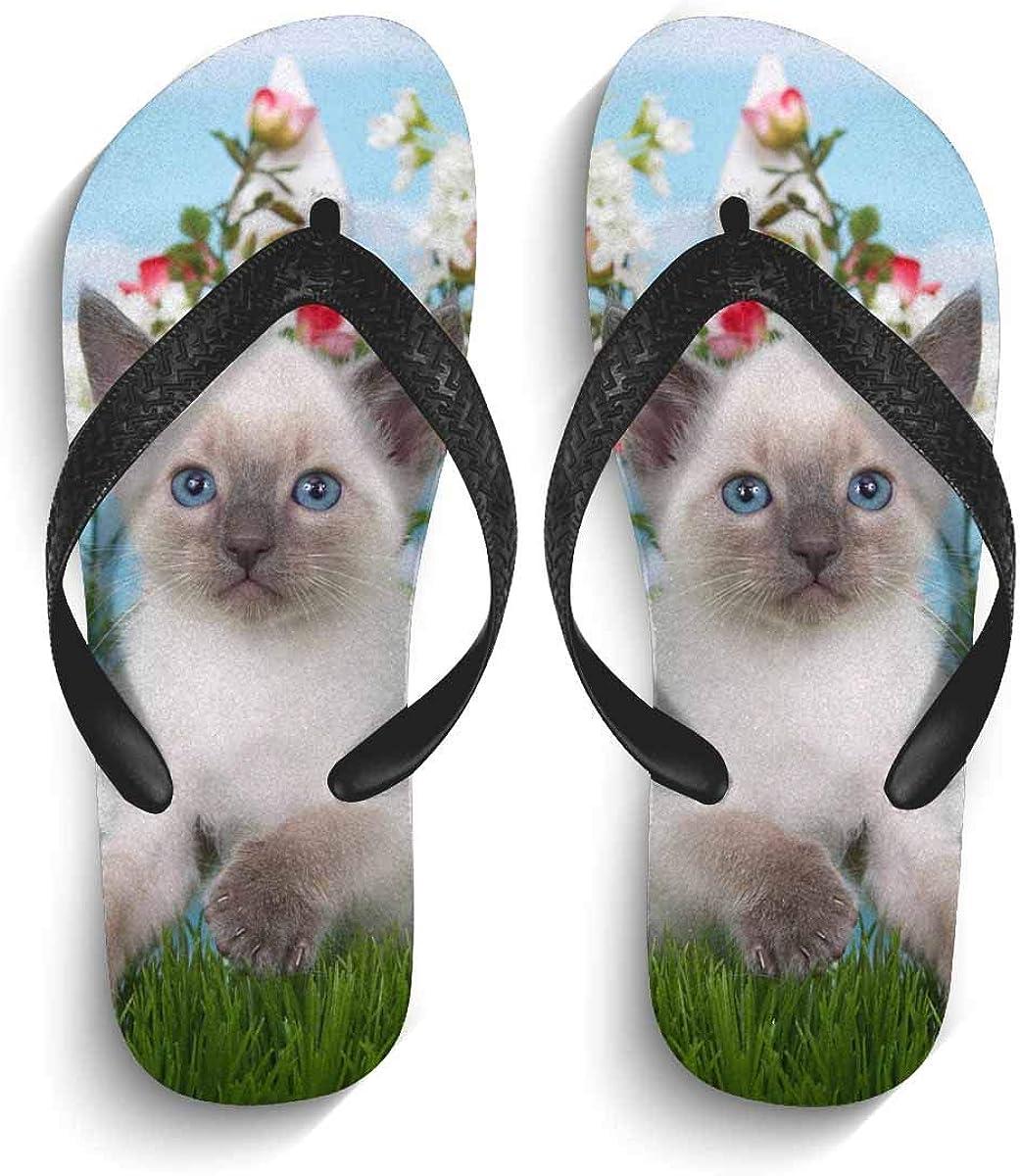 INTERESTPRINT Men's Non-Slip Flip Flop Slippers Abstract Floral Background Beach Thong Sandal