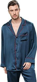 Los hombres Pijamas Pesados de Seda Pijamas de Manga Larga Seda de Seda Servicio al Hogar Traje de Dos Piezas Primavera Y Otoño Verano