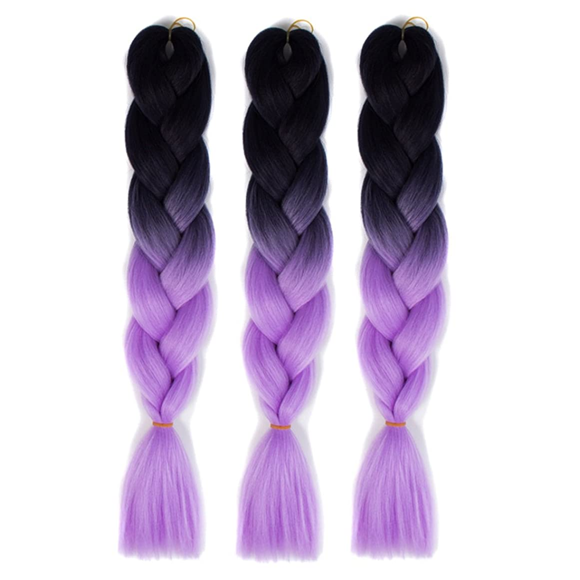 惨めなアカデミー発掘するKoloeplf 女性 化学繊維合成 編まれた かつら 人毛 エクステンション 編み髪 グラデーション ウィッグ (Color : Black light purple 1)