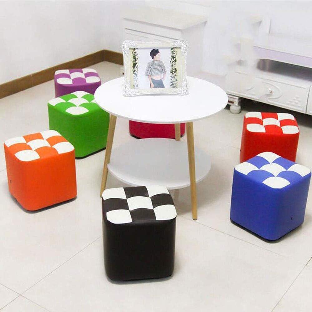 Tabouret rond en PU Matériau Treillis en bois massif Salon Canapé Chambre Chaise Changement Banc de chaussures (Color : Rose red) Noir
