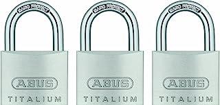 ABUS 64TI/40 Titalium Aluminum Alloy Padlock, Keyed Alike with Nano Protect Steel Shackle, Pack of 3