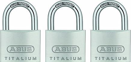 ABUS 64TI/40 Titalium Aluminum Alloy Padlock Keyed Alike - Nano Protect Steel Shackle - 3 Pack