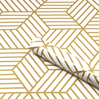 """Gold Stripes Wallpaper, H2MTOOL Removable Peel and Stick Contact Paper Self Adhesive (17.7"""" x 78.7"""", Gold Stripes)"""
