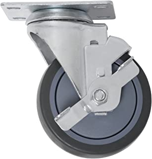 Heavy Duty TPR Rubber Caster Wheel with Swiveling Top Plate w/ Brake  - 4-Inch -  250 lb. Load Capacity  -  Non-Marking for use in Hospitals, Food Service, & Other Institutional Applications