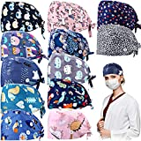 12 Pieces Bouffant Caps with Buttons Adjustable Sweatband Head Hair Covers Unisex Tie Back Hats (Assorted Cartoon and Floral Patterns)
