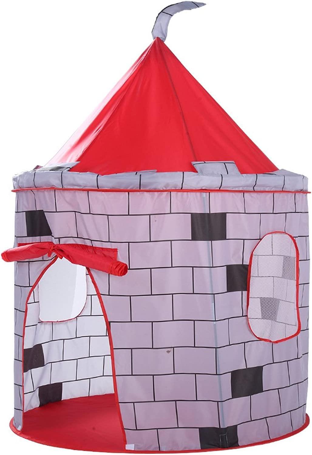 Red City Wall Castle Play Tent,City Wall Design Insect Screen-Foldable for Indoor & Outdoor Use