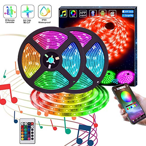 LED Strip Lights,KITHELP IP65 RGB 5050 32.8ft LEDs Color Changing,24key Remote Control and Power Supply,with Bluetooth Phone APP Controller, Lighting Led Strips