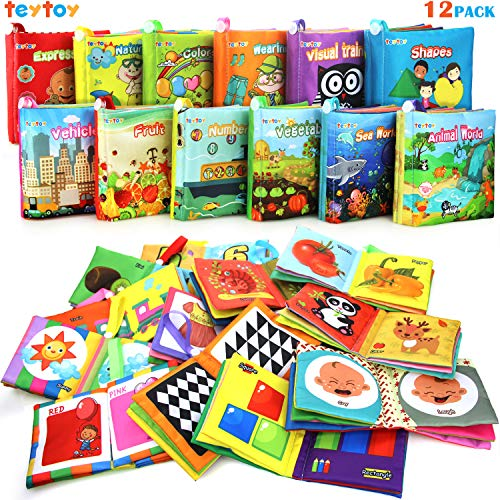 My First Soft Book,TEYTOY Nontoxic Fabric Baby Cloth Activity Crinkle Soft Books
