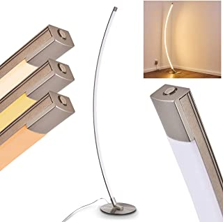 Lámpara de pie LED Playa - Estilo moderno de metal en níquel mate con pantalla curva - 3000 Kelvin - 800 Lumen - con atenuador táctil - 25.000 horas