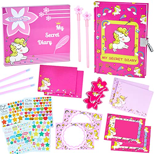 HapeeFun 21pcs Licorne Ensemble de Papeterie A5 Secret Journal Intime Carnet avec Cadenas, Licorne Carte Postale, Kit de Licorne Papeterie pour Enfant