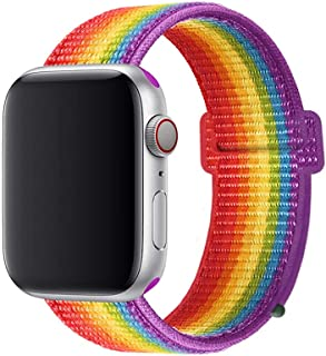 Band Compatible with Apple Watch Band 38MM/40MM Or 42MM/44MM Nylon Soft Breathable Nylon I Watch Replacement Band Sport Loop for Apple Watch Series 4/3/2/1(Rainbow42/44mm)